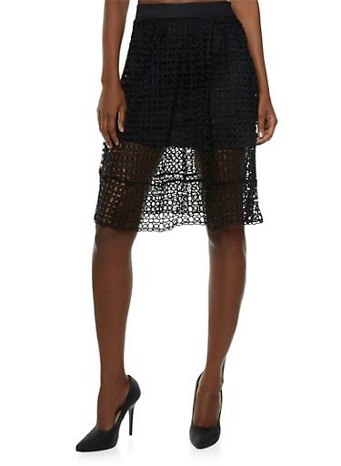 Mini Skirt with Crochet Overlay,BLACK,large