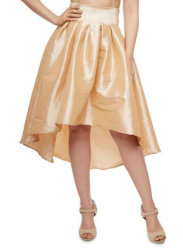 Pleated High-Low Skirt,KHAKI,large