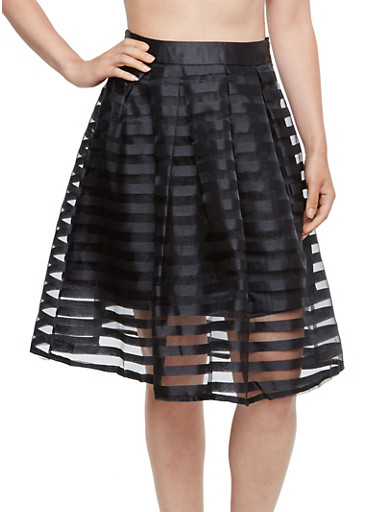 A-Line Skirt with Shadow Stripe Overlay,BLACK,large