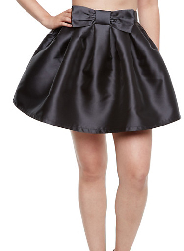 Coated A-Line Skirt with Bow Embellishment,BLACK,large