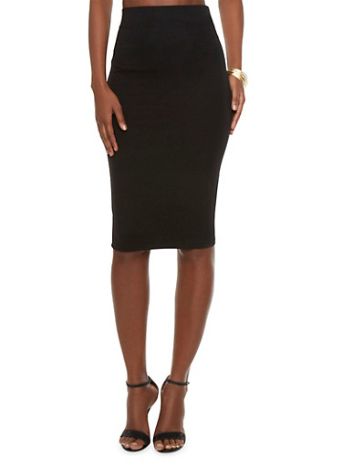 High-Waisted Pencil Skirt,BLACK,large