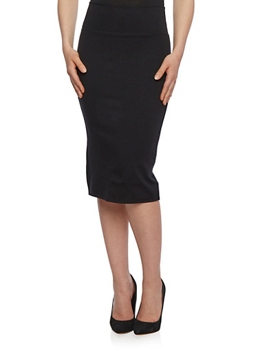 Stretch Midi Skirt in Bodycon Fit,BLACK,large