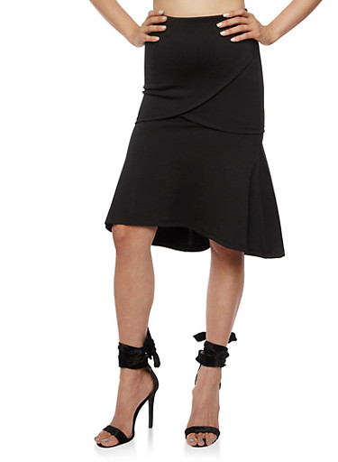 Flare Midi Skirt with Elastic Waist,BLACK,large