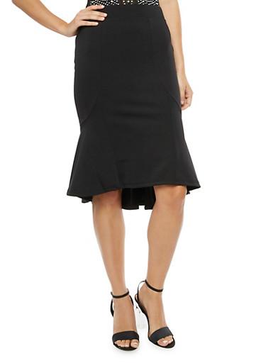 Flared Solid Midi Skirt,BLACK,large