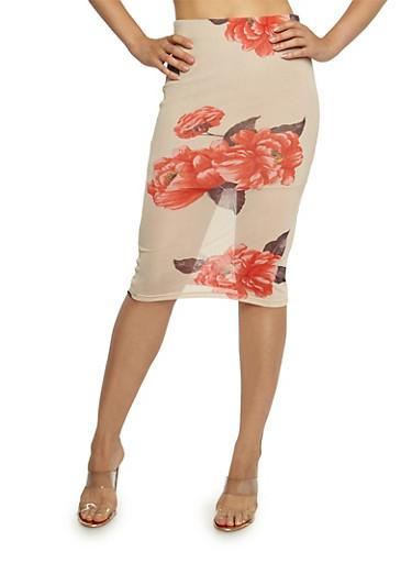 Floral Mesh Midi Pencil Skirt,KHAKI,large