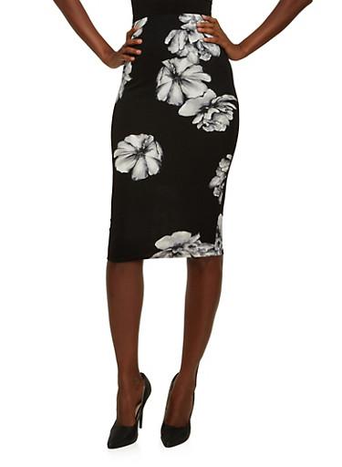 Textural Pencil Skirt in Floral Print,BLACK,large