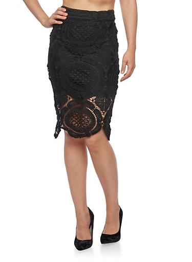 Crochet Overlay Pencil Skirt,BLACK,large