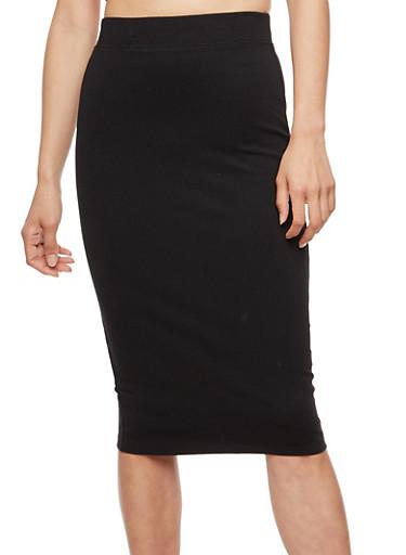 Basic Midi Pencil Skirt,BLACK,large