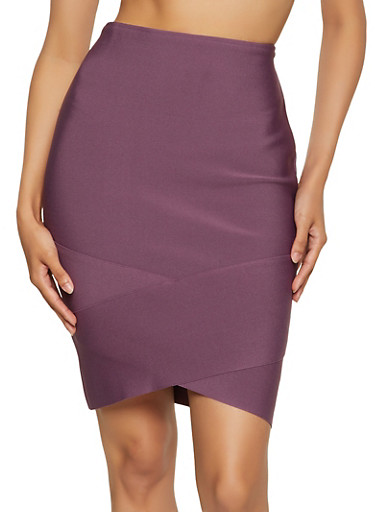Asymmetrical Bandage Skirt,LIGHT PLUM,large