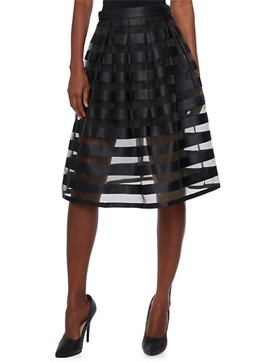 Shadow Stripe A-Line Skirt,BLACK,large