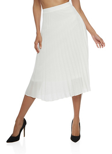 Pleated Chiffon Midi Skirt,OFF WHITE,large