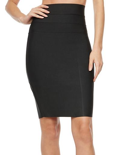 Bandage High Waist Pencil Skirt with Zipper Back,BLACK,large