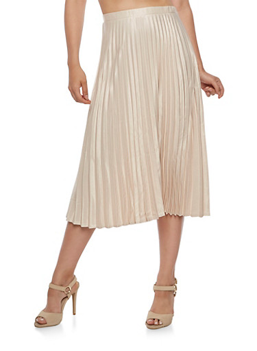 Pleated Satin Midi Skirt,TAN,large