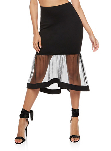 Mesh Trim Ponte Skirt,BLACK,large