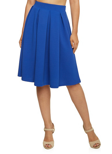 Textural A Line Skirt with Box Pleats,ELECTRIC BLUE,large