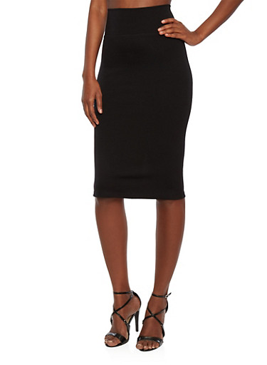 Stretch Midi Skirt with High Waist,BLACK,large