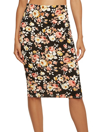Midi Pencil Skirt with Floral Print,BLACK,large