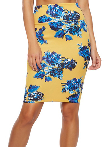 Floral Pencil Skirt in Stretch Knit,MUSTARD,large
