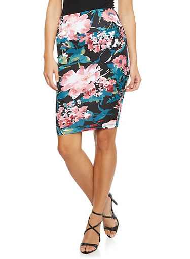 Floral Pencil Skirt in Stretch Knit,BLACK,large