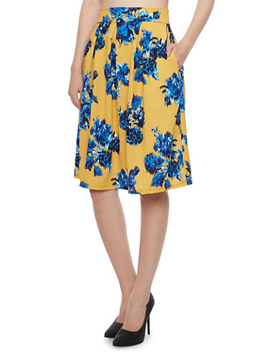 Pleated Midi Skirt in Floral Print,MUSTARD,large