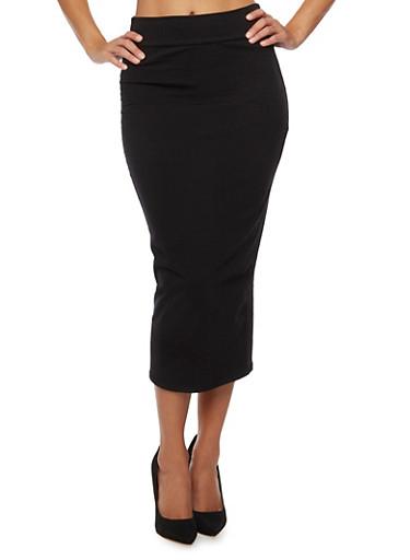 Solid Midi Skirt,BLACK,large
