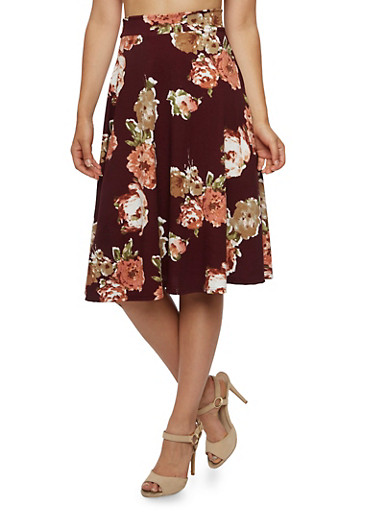 Floral Midi Skirt,BURGUNDY ROSE,large