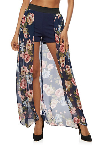 Shorts with Floral Maxi Skirt Overlay,NAVY,large