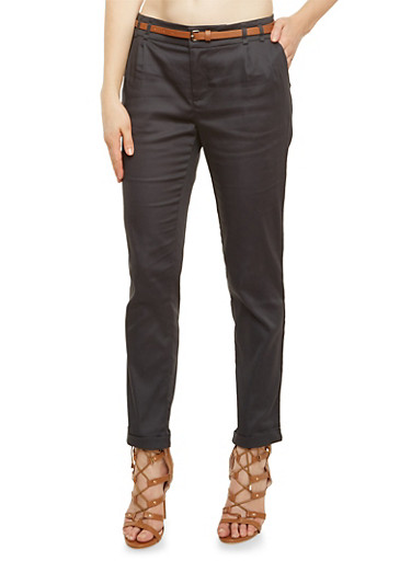 Pleated Pants with Belt,GRAY,large