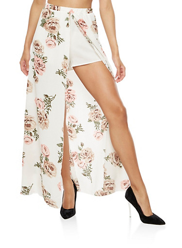 Shorts with Floral Maxi Skirt Overlay,CORAL,large
