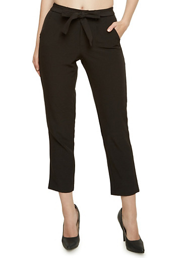 High Waisted Cropped Pants with Tie Belt,BLACK,large