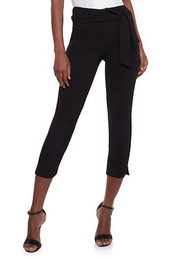 Pintuck Pants with Sash Belt,BLACK,large