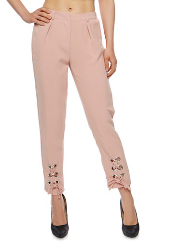 Solid Pants with Lace Up Leg Detail,BLUSH,large