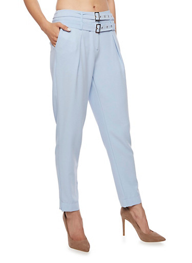 Double Belted Crepe Knit Pants,BLUE,large