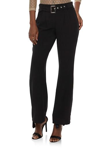 Pleated Pants with Adjustable Belt,BLACK,large