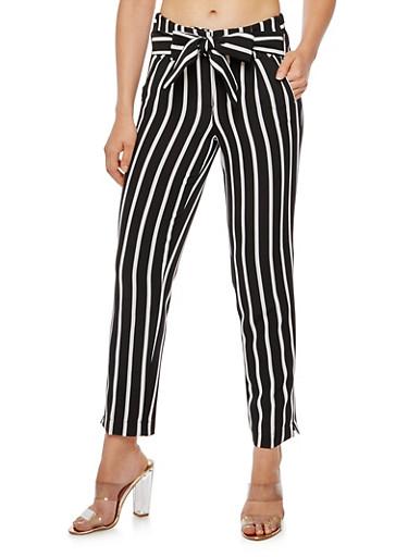 Pleated Striped Tie Waist Pants,BLACK/WHITE,large