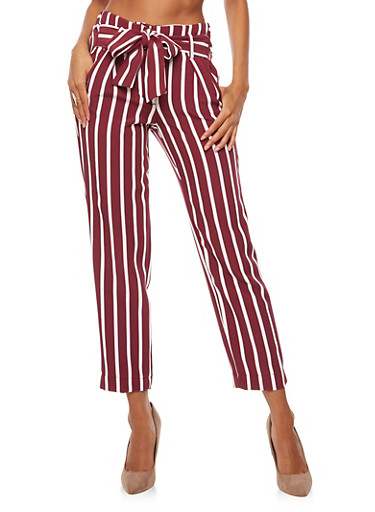 Pleated Striped Tie Waist Pants,BURGUNDY/WHITE,large