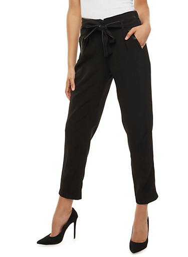 Belted Dress Pants with Faux Leather Trim,BLACK,large