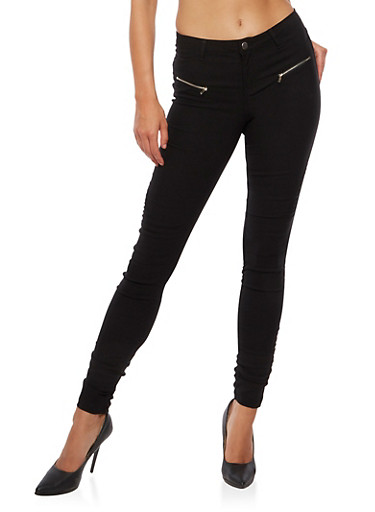 Ruched Moto Jeans,BLACK,large