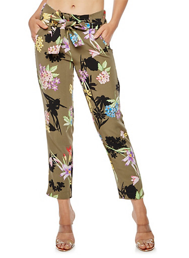 Floral Print Pleated Tie Waist Pants,OLIVE,large