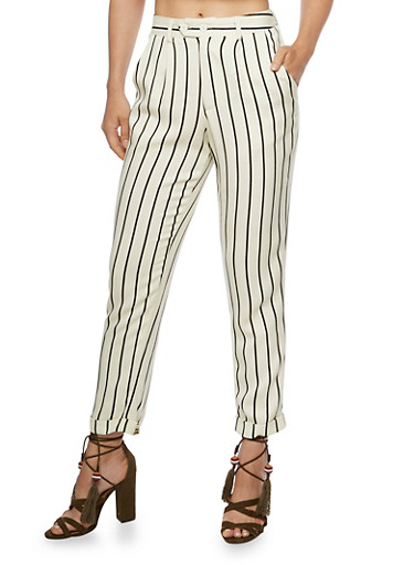 Striped Linen Pants,WHITE BLACK,large