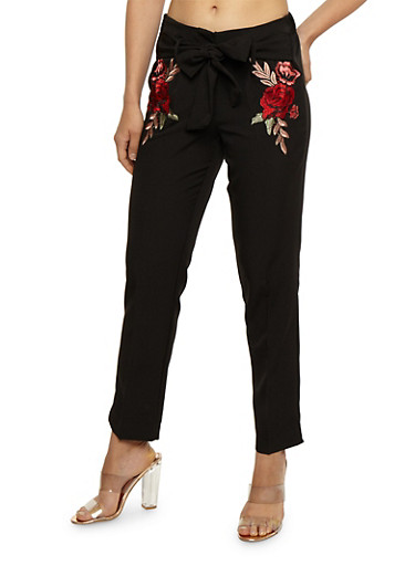 Pleated Pants with Tie Waist and Floral Applique,BLACK,large