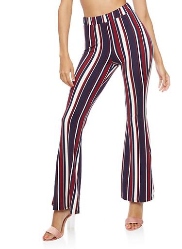 Striped Flared Pants,BURGUNDY,large