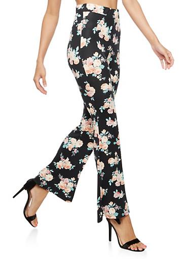 Floral Flared Leggings,BLACK,large