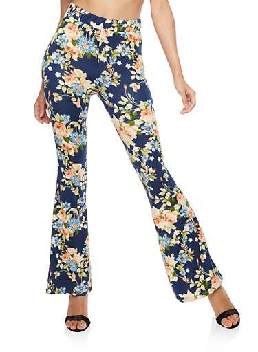 Floral Flared Leggings,NAVY,large