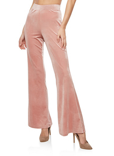 Velvet Flared Pants,MAUVE,large