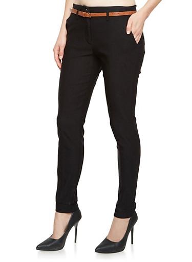 Skinny Dress Pants with Belt,BLACK,large