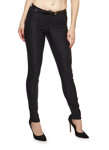 Skinny Belted Pants,BLACK,large