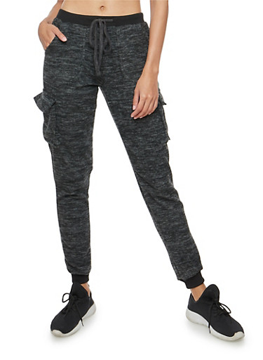 Marled Soft Knit Cargo Joggers,CHARCOAL,large