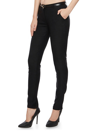 Stretch Pants with Removable Faux Leather Belt,BLACK,large