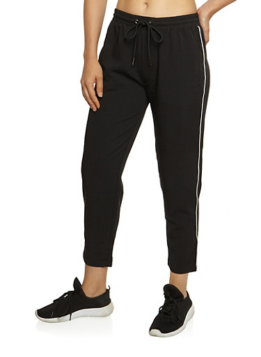 Cropped Athletic Pants,BLACK,large